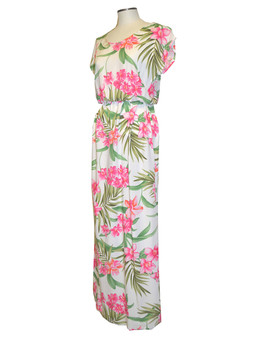 Full Length Rayon Dress Orchids Galore Cap Sleeves Cap Sleeves and Scoop Neckline Flattering Elastic Waist 100% Soft Rayon Fabric Maxi Full length Style Color: White Sizes: XS - 2XL Made in Hawaii - USA