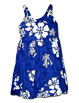 Hawaiian Baby Dress Tropical Hibiscus 100% Cotton Fabric Colors: Blue Sizes: 6 months- 2 - 8 Made in Hawaii - USA