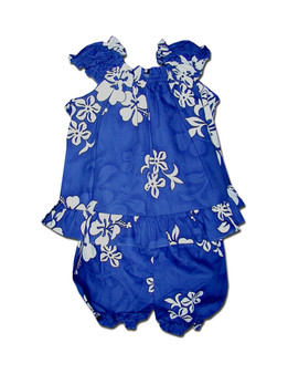Tropical Hibiscus Aloha Baby Clothes Set Includes a Comfortable Top and Matching Bottom Diaper Cover 100% Cotton Fabric Top with Elastic Neckline Shorts with Elastic Waist Band Colors: Blue Sizes: 6 - 24 months Made in Hawaii - USA