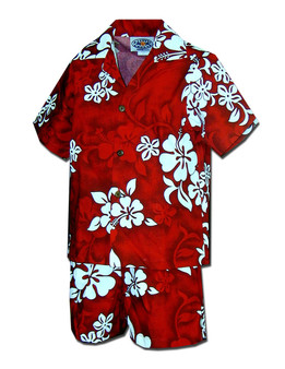 Boys Aloha Toddler Set - Tropical Hibiscus 100% Cotton Coconut Shell Buttons Colors: Red Sizes: 1T, 2T, 4T, 6T Made in Hawaii - USA