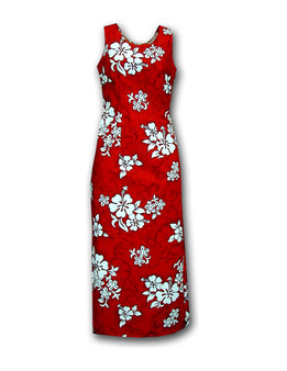 "Island Long Tank Dresses - Tropical Hibiscus 100% Cotton Fabric 1 Slit - 20"" Long on Left Side Colors: Red Sizes: S - 2XL Zipper on Back Made in Hawaii - USA"