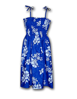 Tropical Hibiscus Smock Midi Tube-Top Dress 100% Cotton Fabric Colors: Blue Length: 33 Inches Size: One Size Fits Most XS - XL Made in Hawaii - USA