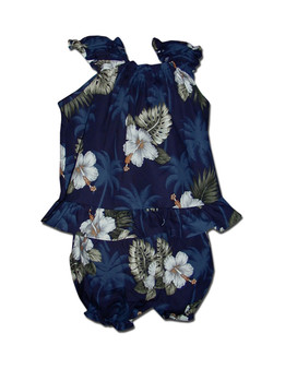 Baby Clothes Capri Set Tropical Ka Pua Includes a comfortable top and matching bottom diaper cover 100% Cotton Fabric Colors: Navy Sizes: 6 - 24 months Made in Hawaii - USA