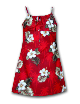 Tropical Navy Ka Pua Girl's Dress Spaghetti Style 100% Cotton Fabric Adjustable Straps Color: Red Sizes: 8 - 14 Made in Hawaii - USA