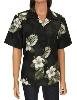 Aloha Camp Blouse - Ka Pua 100% Cotton Loose Design Coconut shell buttons Colors: Black Sizes: S - 2XL Made in Hawaii - USA