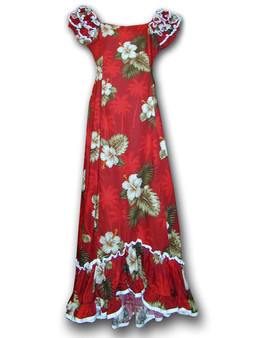 Long Floral Muumuus Fitted Dress Ka Pua Long Maxi Muumuu Style Shoulders and Hem Ruffles Elastic Shoulders and Sleeves Design Form-fitted Dress with Back Zipper Short Fishtail Train 100% Cotton Colors: Red Sizes: XS - 2XL Machine Wash, Iron and Steam Safe Made in Hawaii - USA