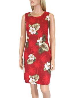 Short Sleeveless Tank Hawaii Dress Ka Pua 100% Cotton Fabric Care: Machine Wash Cold, Cool Iron Sleeveless Tank Short Style with Back Zipper Colors: Red Sizes: S - 2XL Made in Hawaii - USA