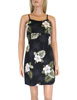Ka Pua Short Spaghetti Beach Aloha Dress 100% Cotton Fabric Adjustable Straps and Back Zipper Colors: Black, Navy, Red Sizes: S - XL Made in Hawaii - USA
