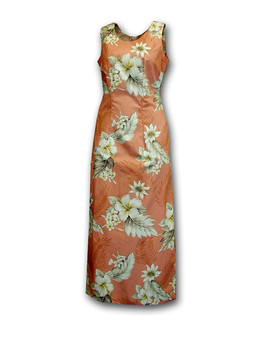 """Theses Long Tank Strap Dresses are designed and made in Hawaii with a scoop neckline and a left side slit. Cocktail Long Dress Hawaiian Lanai Design 100% Cotton Fabric 1 Slit - 20"""" Long on Left Side Colors: Peach Zipper on Back Sizes: S - 2XL Made in Hawaii - USA"""