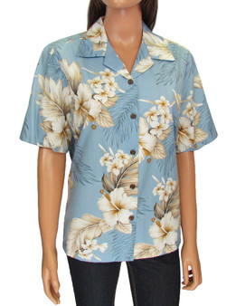 Hawaiian Women Camp Blouse - Lanai 100% Cotton Loose Design Coconut shell buttons Colors: Blue Sizes: S - 2XL Made in Hawaii - USA