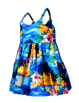 Island Sunset Sundress for Girls 100% Cotton Fabric Toddler Flirty Sundress Elastic Bungee Shoulder Straps Back Adjustable Waist Tie Colors: Blue Sizes: 6 months, 1/2, 4, 6, 8 Made in Hawaii - USA