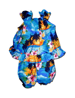 Hula Sunset Baby Clothes Set Includes a Comfortable Top and Matching Bottom Diaper Cover 100% Cotton Colors: Blue Sizes: 6 - 24 months Made in Hawaii - USA