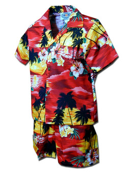 Toddler Clothes Set Sunset Hawaiian Islands 100% Cotton Fabric Matching Shorts and Shirt Set Coconut Shell Buttons Colors: Red Sizes: 1T, 2T, 4T, 6T Made in Hawaii - USA