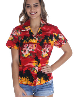 Hawaiian Women Fitted Blouse Sunset 100% Cotton Fabric Genuine Coconut Shell Buttons Short Sleeves Fitted Style Blouse Front and Back Darts Color: Red Sizes: S - 2XL Made in Hawaii - USA