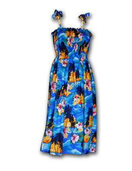 Sunset Tube-Top Mid-Length Spaghetti Dress 100% Cotton Fabric Colors: Blue Length: 33 Inches Size: One Size fits most From: S - 2XL Made in Hawaii - USA
