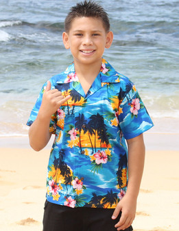 Hawaiian Sunset View Boy's Shirts 100% Cotton Coconut shell buttons Machine Wash Cold Cool Iron Colors: Blue Sizes: S - XL Made in Hawaii - USA Matching Items Available