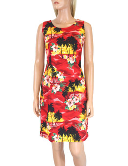 Hawaiian Short Island Sunset Tank Dress 100% Cotton Fabric Care: Machine Wash Cold, Cool Iron Sleeveless Tank Short Style with Back Zipper Colors: Red Sizes: S - 2XL Made in Hawaii - USA