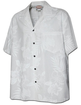 La'ele White Men Hawaiian Wedding Shirt 100% Cotton Fabric Coconut shell buttons Matching left pocket Color: White Sizes: S - 4XL Made in Hawaii - USA
