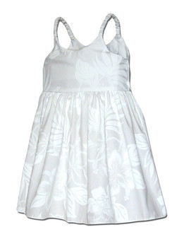 Bungee Little Girls Hawaiian Dress La'ele 100% Cotton Fabric  Color: White Sizes: 6 months - 2 - 8 Made in Hawaii - USA