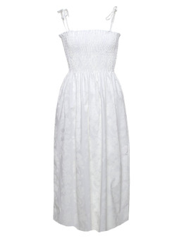 Hibiscus Midi Smock top Hawaiian Wedding Dress Lei 100% Cotton Fabric Smock Tube Top Design Tie On Shoulder or Halter Style Wear Strapless Option Color: White Size: One Size Dress XS-XL Made in Hawaii - USA