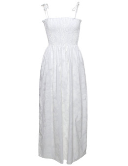 Smock Top Maxi Hawaiian Wedding Dress 100% Cotton Fabric Long Maxi Smocked Tube Top Tie On Shoulder or Halter Style Wear Strapless Option Colors: White Size: One-Size Fits Most XS-XL Made in Hawaii - USA