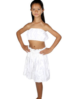 White Hula Skirt and Top Set for Girls - Hawaiian 100% Cotton Fabric Hula Skirt and Matching Top Adjustable Elastic Waist Top with Elastic Color: White One Size fits Girls from Fits 4 to 10 years old Made in Hawaii - USA