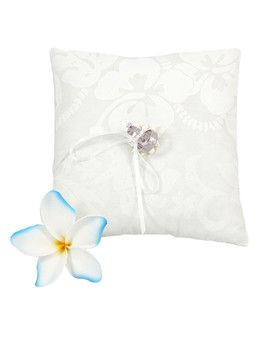 Rings Bearer Pillow Hawaiian Hibiscus 100% Cotton Fabric Soft Poly Fiver Fill Spherical Seashells Center Design Front Thin Ring Laces Match Bridal Clothes Color: White Dimensions: 7 x 7 Inches Thickness: 2 Inches Rings or Accessories in Image not Included Made in Hawaii - USA