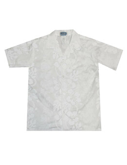 Boys Hawaiian Shirt White Hibiscus Leis 100% Cotton Fabric Coconut shell buttons Machine Wash Cold Cool Iron Color: White Sizes: S - XL Made in Hawaii - USA
