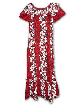 Long Hawaiian Muumuu Tropical Hibiscus 100% Cotton Comfortable and Slimming Round Elastic Neck Line Cap Sleeve Wide Pullover Design Flared Skirt Style Colors: Red Sizes: S - 3XL Made in Hawaii - USA