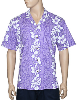 Aloha Island Shirt Hibiscus Leis 100% Cotton - Versatile and Cool Open Collar - Relaxed Modern Fit Coconut shell buttons - Matching left pocket Color: Purple Sizes: S - 3XL Made in Hawaii - USA