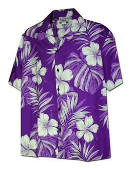 Palekaiko Men Shirt Purple Color 100% Cotton Coconut shell buttons Matching left pocket Color: Purple Sizes: S - 4XL Made in Hawaii - USA Matching Items Available