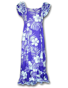 Aloha Ruffle Long Muumuu Palekaiko Dress Long Maxi Muumuu Style Shoulders and Hem Ruffles Elastic Shoulders and Sleeves Design Form-fitted Dress with Back Zipper Short Fishtail Train 100% Cotton Color: Purple Sizes: S - XL Machine Wash, Iron and Steam Safe Made in Hawaii - USA