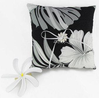 "Palekaiko Wedding Ring Black Pillow 100% Cotton Fabric Soft Poly Fiver Fill Spherical Seashells Center Design Front Thin Ring Laces Match Bridal Clothes Color: Black Dimensions: 7""X7"" Thickness: 2 Inches Made in Hawaii - USA Matching Items Available Flower on Picture Not Included"