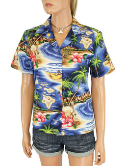 Polynesian Flavor Hawaiian Island Design Shirt for Women 100% Cotton Fabric Short Sleeves Comfortable Fit Design Coconut Shell Buttons Multi Color Selection Colors: Navy Sizes: XS - 3XL Made in Hawaii - USA Matching Items Available