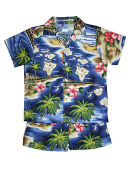 Polynesian Island 2 Piece Boy's Cotton Cabana Set 2 Piece Set - Shirt and Shorts 100% Cotton Fabric Genuine Coconut Buttons Short's Elastic Waist Matching Fabric Design Colors: Navy Sizes: 1T, 2T, 4T, 6T Made in Hawaii - USA