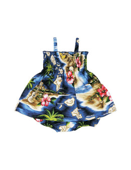 Smock Top 2 Piece Set Girls Hawaiian Polynesian Elastic Straps 2 Piece Matching Elastic Bottoms (6m-24m) 100% Cotton Fabric Smock Tube Top Back Adjustable Tie Sizes: 6m - 4t Colors: Navy Made in Hawaii - USA Matching Items Available