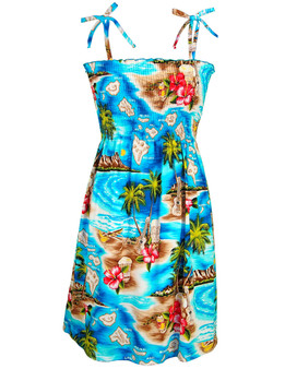Smocked Short Dress Hawaiian Polynesian 100% Cotton Fabric Smock Tube Top Design Tie On Shoulder or Halter Style Wear Strapless Option Colors: Turquoise Sizes: S - XL Made in Hawaii - USA