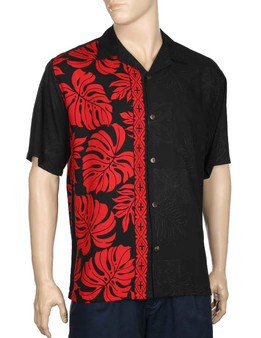 Price Kuhio Premium Aloha Shirt Side Band 100% Rayon Fabric Open Pointed Folded Collar Genuine Coconut Buttons Seamless Matching Left Pocket Colors: Black/Red Sizes: S - 3XL Care: Handwash - Line Dry Made in Hawaii - USA