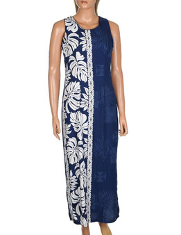 Prince Kuhio Maxi Long Sleeveless Dress Side Design Sleeveless Maxi Dress Style 100% Rayon Soft Fabric 2 Side Slits & Seamless Back Zipper Colors: Navy Sizes: S - 3XL Made in Hawaii - USA
