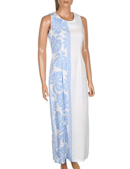 Prince Kuhio Design Long Hawaiian Wedding Dress Sleeveless •	Sleeveless Maxi Dress Style •	100% Rayon Soft Fabric •	2 Side Slits & Seamless Back Zipper •	Colors: White/Blue •	Sizes: S - 3XL Made in Hawaii - USA