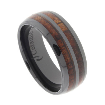 Black Ceramic Ring with Double Row Koa Wood Inlay 8mm