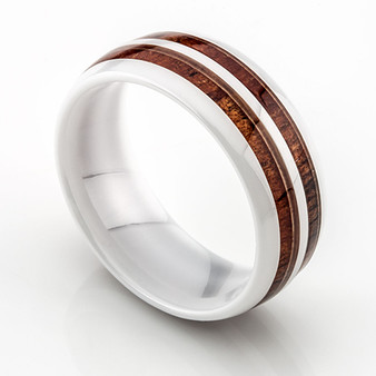 Ceramic Ring with Double Row Koa Wood Inlay 8mm