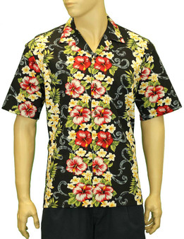 Big Island Tropical Hibiscus Black Shirt 100% Cotton Fabric Open Pointed Folded Collar Genuine Coconut Buttons Seamless Matching Left Pocket Color: Black Sizes: S - 3XL Care: Machine Wash Cold, Cool Iron Made in Hawaii - USA
