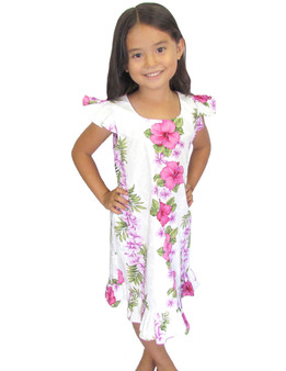 This Beautiful Big Island Girl Ruffle Floral Dress 100% Cotton Fabric Cap Sleeves and Ruffled Hem Adjustable Ties and Back Zipper Color: White/Pink Sizes: 1,2 - 14 Made in Hawaii - USA