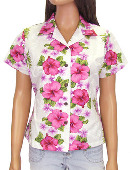 Hawaiian Fitted Women's Shirt Big Island White 100% Cotton Fabric Genuine Coconut Shell Buttons Short Sleeves Fitted Style Blouse Front and Back Darts Color: White Sizes: S - 2XL Made in Hawaii - USA