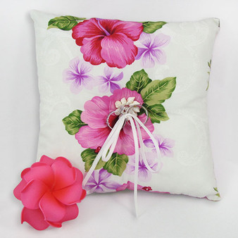 "Big Island Ring Bearer Pillow 100% Cotton Fabric Soft Poly Fiver Fill Spherical Seashells Center Design Front Thin Ring Laces Match Bridal Clothes Color: White/Pink Dimensions: 7""X7"" Thickness: 2 Inches Rings are not Included Made in Hawaii - USA Matching Items Available Flower on Picture Not Included"