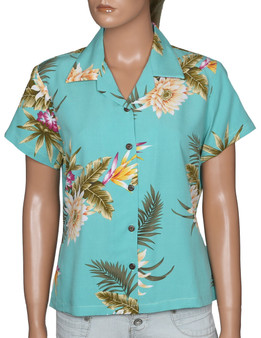 Island Ceres Women Hawaiian Rayon Blouse 100% Rayon Soft Fabric Coconut shell buttons Color: Green Sizes: S - 4XL Made in Hawaii - USA