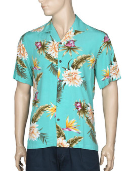 Rayon Hawaiian Shirt for Men Island Ceres 100% Rayon Soft Fabric Seamless Matching left pocket Genuine Coconut Shell Buttons Color: Green Sizes: S - 4XL Made in Hawaii - USA