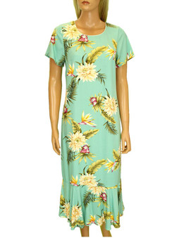 Island Ceres Midi Hawaiian Dress with Sleeves 100% Rayon Fabric Comfort Round Neckline Piping Wrapped Short Sleeves Hidden Back Zipper Ruffled Hemline & Bias Cut Relaxed Fit Design Color: Green Sizes: XS - 2XL Made in Hawaii - USA