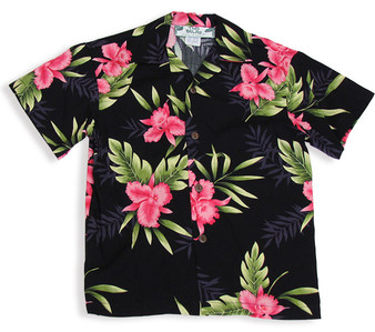 Rayon Boy Shirt - Okalani 100% Rayon Color: Black Sizes: 1- 14 Made in Hawaii - USA Matching Items Available